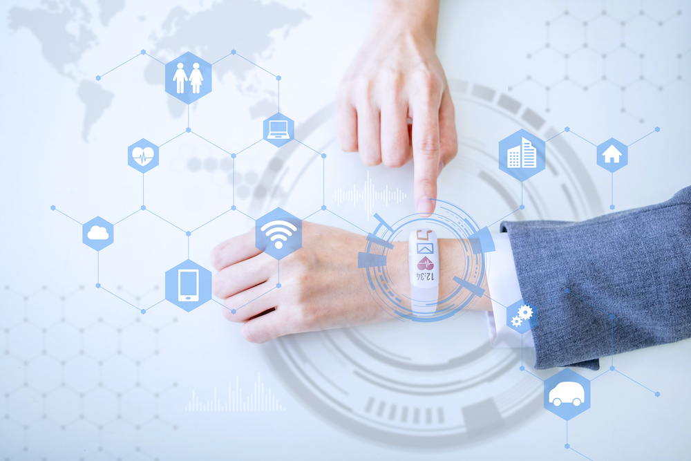 smart watch linked to wifi, home, and hospital to show doctors what the persons health is through a wearable